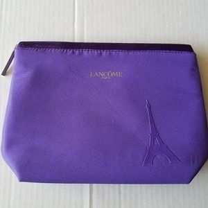 Lancome Paris Purple Makeup Cosmetic Bag Gold Zip